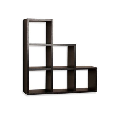 danya b stepped 6 cubby decorative shelf in laminated black