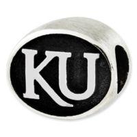 Sterling Silver Collegiate University of Kansas Antiqued Charm Bead