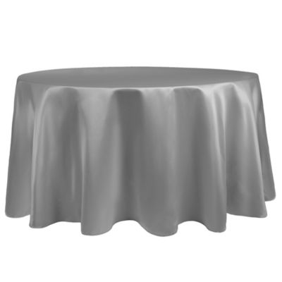 Captivating Duchess 90 Inch Round Tablecloth In Silver