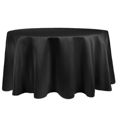 Great Duchess 90 Inch Round Tablecloth In Black