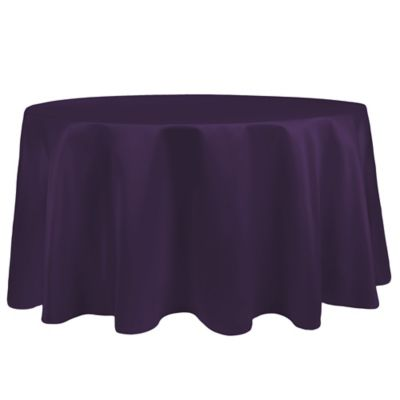 Superbe Duchess 90 Inch Round Tablecloth In Plum
