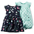 carter's® Newborn 3-Piece Flutter Sleeve Floral/Dot Dress and Romper Set in Navy/Aqua