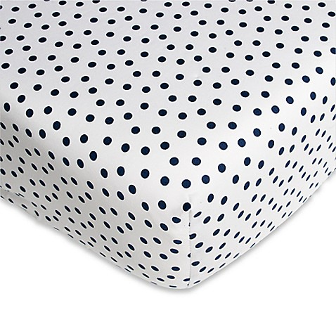 CoCaLo® Connor Mix & Match Dot Fitted Crib Sheet in White/Navy