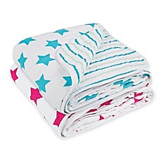 Lassig Stars & Stripes Cozy Swaddle & Burp Blanket