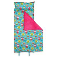 Stephen Joseph Allover Owl Print Nap Mat in Turquoise/Pink