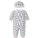 Little Me® Size 9M 2-Piece Bird Toile Footie and Hat Set in Black/White