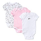 Little Me® Newborn 3-Pack Bird Toile Bodysuits in White/Pink
