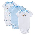 Little Me® Newborn 3-Pack Fun Safari Bodysuits in White/Blue