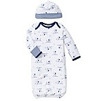 Little Me® 2-Piece Puppy Toile Gown and Hat Set