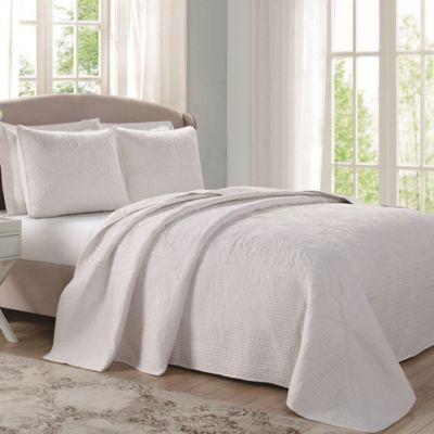 Laura Ashley 174 Ecru Floral Stitched Bedspread Bed Bath