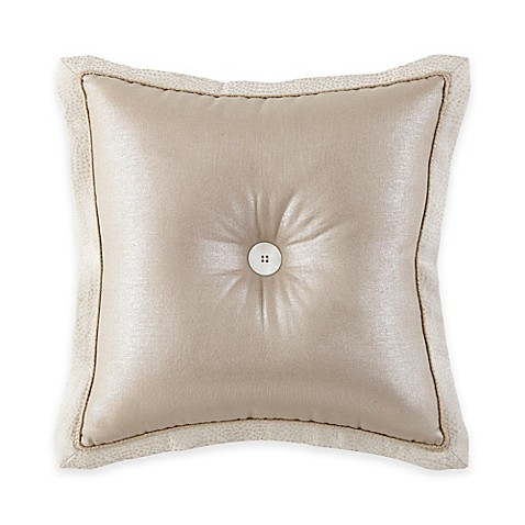 Waterford Linens Genevieve Button Square Throw Pillow in Taupe - Bed Bath & Beyond