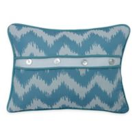 HiEnd Accents Catalina Button Boudoir Throw Pillow in Aqua/White