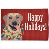 """Happy Holidays!"" 30-Inch x 48-Inch Indoor/Outdoor Rug in Red"