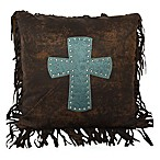 Cheyenne Cross Throw Pillow in Turquoise
