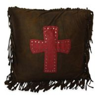 HiEnd Accents Polyester Cheyenne Cross Accent Pillow in Red/Brown