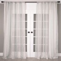 Aura 108-Inch Striped Sheer Window Curtain Panel in Turquoise/White