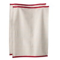 Hampton Stripe Kitchen Towels in Oatmeal (Set of 2)