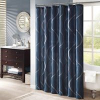 Madison Park Serendipity Embroidered Shower Curtain in Navy