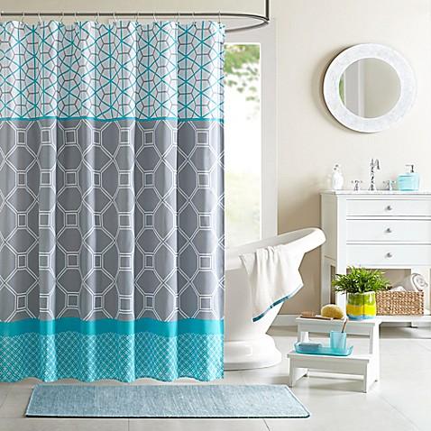 Intelligent Design Clara Blue Shower Curtain Bed Bath