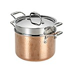 Lagostina Martellata Tri-Ply Copper 6 qt. Covered Pastaiola with Pasta Insert