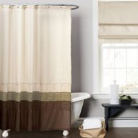 Mia Green And Brown 72 Inch X Shower Curtain