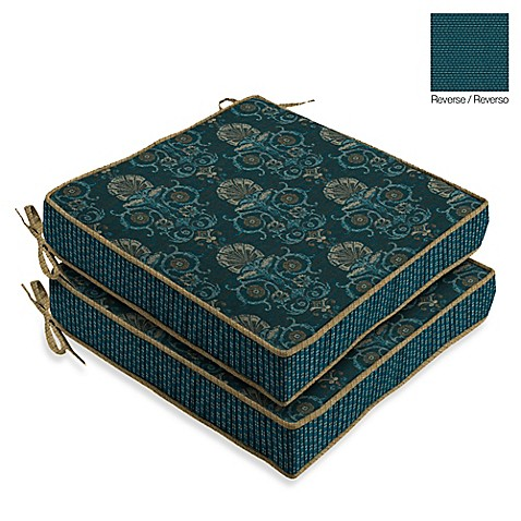 Buy bombayr anatolia blue seat cushions set of 2 from for Bed bath beyond gel seat cushion