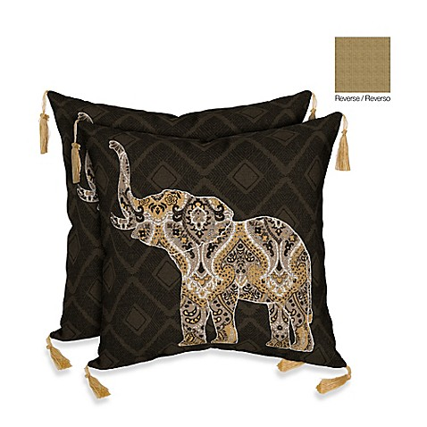 Elephant Throw Pillow Bed Bath And Beyond : Bombay Casablanca Elephant/Kenya Outdoor Throw Pillow in Brown - Bed Bath & Beyond