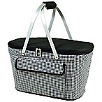 Picnic at Ascot Collapsible Basket Cooler in Black/White