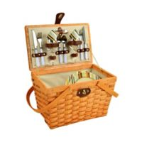 Picnic at Ascot Full Equipped Frisco Picnic Basket for 2 in Honey/Santa Cruz Stripe