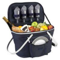 Picnic at Ascot Collapsible Insulated Picnic Basket for 4 in Navy