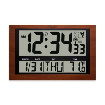 la crosse technology atomic digital wall clock with jumbo lcd in red wood finish