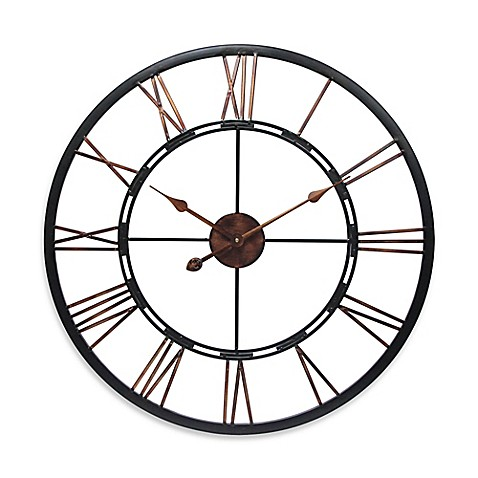 Infinity instruments 28 inch roman numeral metal fusion wall clock bed bath beyond - Large roman numeral wall clocks ...