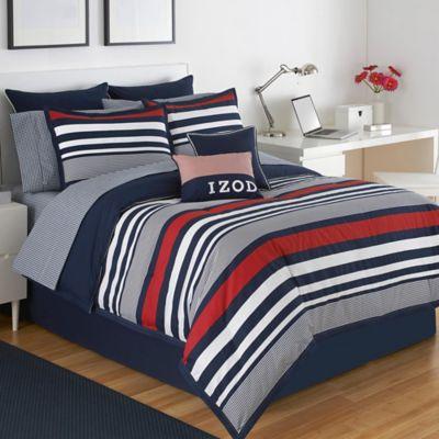 izod varsity stripe reversible california king comforter set