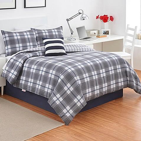 Izod 174 Fairfax Plaid Comforter Set In Grey Bed Bath Amp Beyond