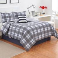 Izod® Fairfax Plaid Twin Comforter Set in Grey