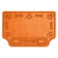 Weather Guard™ 22-Inch x 33-Inch Pet Feeder Drool Mat in Orange with Bones and Paws Edge