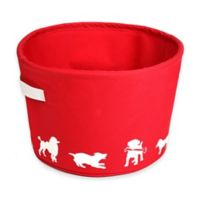 14-Inch Eco Silhouette Dog Toy Pet Bin in Red