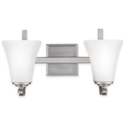 Feiss Summerdale 2-Light Bath Vanity in Satin Nickel with LED Bulb - Bed Bath & Beyond