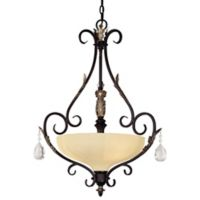 Minka Lavery® Bellasera™ 3-Light Pendant in Walnut with Ivory Cloud Glass Shade