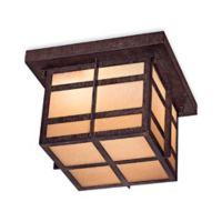 Minka Lavery® Delancy™ 2-Light Flush-Mount Outdoor Lantern in Iron with Glass Shade