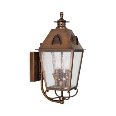 Buy brass outdoor lighting from bed bath beyond minka lavery edenshire 3 light wall mount outdoor light in english brass with workwithnaturefo