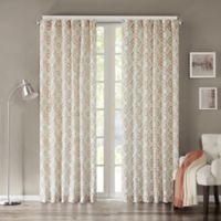 INK+IVY Tuscany 84-Inch Rod Pocket Geometric Window Curtain Panel in Coral
