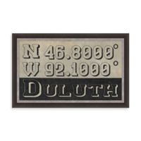 """Retro Style Framed """"Duluth"""" Map Coordinates Sign"""