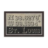 Retro Style Framed St. Louis, IL Map Coordinates Sign