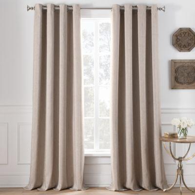 Superior Cole Stripe 84 Inch Grommet Top Window Curtain Panel In Khaki