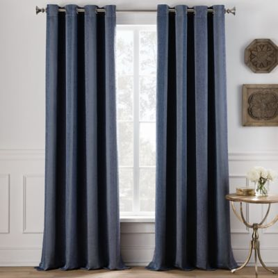Cole Stripe 63 Inch Grommet Top Window Curtain Panel In Denim
