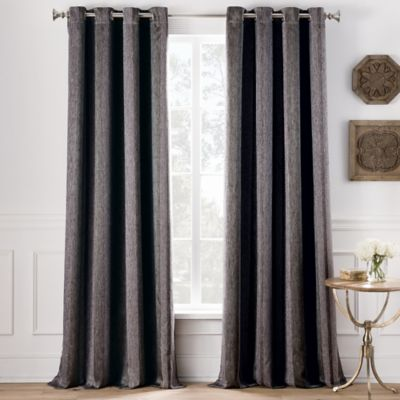 Cole Stripe 84 Inch Grommet Top Window Curtain Panel In Charcoal
