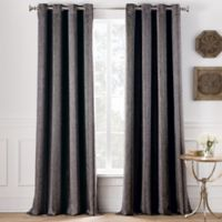 Cole Stripe 84-Inch Grommet Top Window Curtain Panel in Charcoal