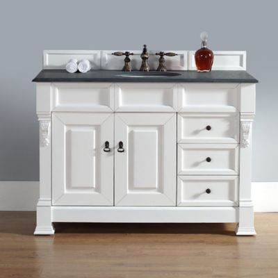 james martin furniture brookfield vanity with drawers w absolute black rustic top in cottage white