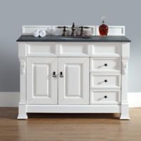 James Martin Furniture Brookfield Vanity with Drawers w/ Absolute Black Rustic Top in Cottage White